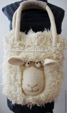 Валянная сумка Овечка Долли - larissima - Ярмарка Мастеров Felt Purse, Unique Purses, Kids Bags, Nuno Felting, Knitted Bags, Handmade Bags, Bag Sale, Beautiful Bags, Bag Making
