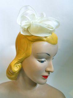 White Organza Petal Bridal 1960s Headpiece