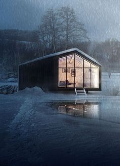 CGarchitect - Professional 3D Architectural Visualization User Community | Winter Architecture Panel, Architecture Portfolio, Architecture Design, Drawing Architecture, 3d Architectural Visualization, Architecture Visualization, Northern Lights Hotel, Photoshop Rendering, Forest House