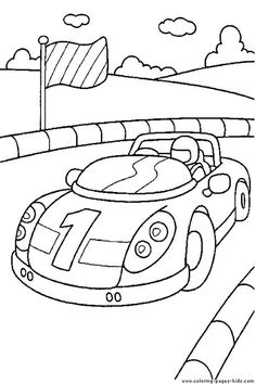 printable coloring pages...Race Car driver in a race car coloring page
