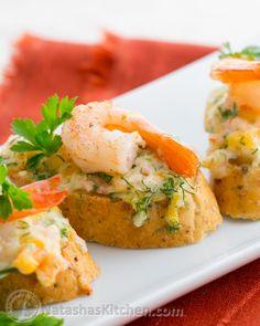 Cheesy Shrimp Tea Sandwiches (Canapés)