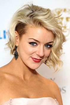 Sheridan Smith's hollywood glamour waves - side undercut/shaved for the ladies with a bob and some guts. For the ladies who aren't game enough to shave the sides, try spraying & pinning the sides under the free falling hair.