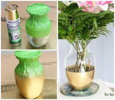 Une décoration chic pour ce vase en verre. 14 Idées de décorations stylées avec de la peinture en bombe #DiyHomeDecor
