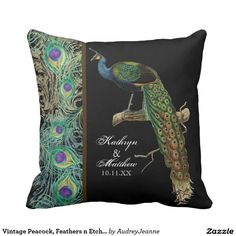 Shop Vintage Peacock, Feathers n Etchings Decorative Throw Pillow created by AudreyJeanne. Peacock Decor, Peacock Theme, Peacock Design, Peacock Wedding, Watercolor Peacock, Wedding Pillows, Peacock Feathers, Soft Furnishings, Custom Pillows