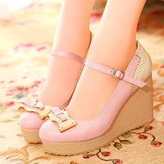 98e15c2f Sweet Womens Girls Bowknot Buckle Wedge High Heels Platform Mary Janes Shoes  Zapatos, Tacones,