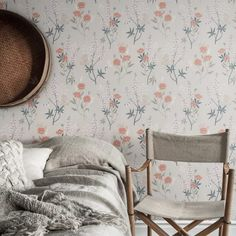 Wallpaper Emma grey is a flowering summer meadow with tall lupines and poppies flowing over the wallpaper. Soft shades of pink and grey on a pale grey background. M Wallpaper, Pattern Wallpaper, Sandberg Wallpaper, Red Cottage, Inspirational Wallpapers, Swedish Design, Bunt, Poppies, Bedrooms