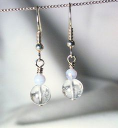 Simple pearl/blue/silver earrings, lovely.