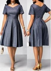 Pleated Short Sleeve Band Waist Dress | Rosewe.com - USD $34.60