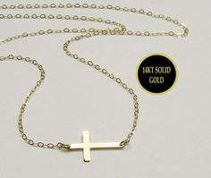 Sideways Cross Necklace in 14kt Solid Gold  Miley by gemsinvogue, $135.00