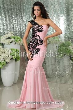 Dreamlike Mermaid Pink One Shoulder Applique Evening Gown - Fannybrides.com Discount Prom Dresses, Graduation Dresses, Girls Dresses, Formal Dresses, Evening Gowns, Applique, One Shoulder, Mermaid, Pink