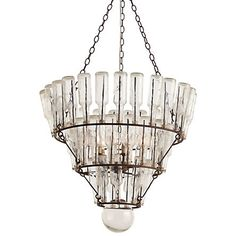 "Message Bottle Chandelier   Tiered iron rings hold vintage-inspired glass bottles aloft to spill warm, fractured light around the room.    - Iron and glass  - 5 lights, 52 bottles  - Hardwired  - 3' chain  - 25 watt max  - Imported    52""H, 29"" diameter"