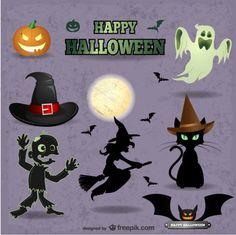 Mignon vecteurs paquet Halloween Vecteur gratuit