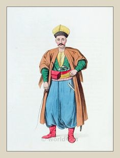 Ottoman Empire Men Costumes. It was puffy pants, a long coat,a big hat and a long sleeved shirt-thing.