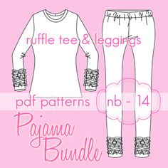 Pajama Bundle Ruffle Tee and Ruffle Leggings - nb - 5t or 6 - from www.jocole.net and www.patternrevolution.com