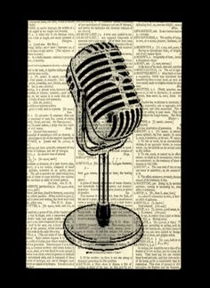Retro Microphone Poster, Vintage Microphone Print on Vintage Dictionary Page, Man Cave Decor, Gift for Musician, Black and White Decor by FlightOfFancyPrints on Etsy