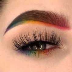 Makeup Eye Looks, Eye Makeup Art, Colorful Eye Makeup, Crazy Makeup, Skin Makeup, Eyeshadow Makeup, Makeup Wings, Rainbow Makeup, Eyeshadow Guide