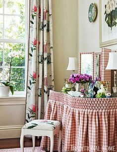 Smocked Gingham Kidney Shaped Dressing Table. (The Glam Pad: Palm Beach Pink, Part III)
