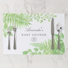 Watercolor Greenery Baby Shower Paper Placemat - gift idea custom