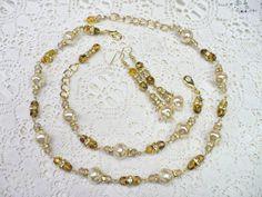 OOAK Vintage Ivory/Champagne PEARL  Gold & by ElegantiTesori