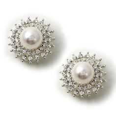 Looking for gift ideas? Get her something she will love! #fashionjewelry #giftgiver #topwholesalejewel Silver Half Dome White Pearl Center Wrapped with Crystal Rhinestone and Spikes Stud Earrings