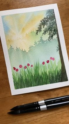 Watercolor Art Lessons, Watercolor Paintings For Beginners, Watercolor Techniques, Easy Paintings, Watercolor Beginner, Watercolor Journal, Tree Paintings, Painting Videos, Painting With Watercolors