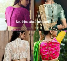 8 blouse back neck designs & patterns for 2017 like cut out, High Neck Blouse, Net Back, deep blouses, Tie up, Tear Drop, Button with slit.