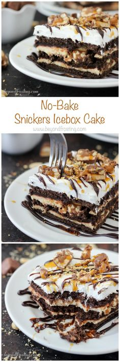 This No-Bake Snickers Icebox Cake is the perfect way to cool down this summer. This dessert has layers of chocolate graham crackers, caramel cream cheese, chocolate pudding, Snickers bars and salty peanuts! ~ Beyond Frosting Peanut Butter Lasagna, Peanut Butter Desserts, Chocolate Peanut Butter, No Bake Desserts, Just Desserts, Delicious Desserts, Dessert Recipes, Chocolate Pudding, Icebox Desserts