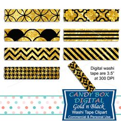 Gold and Black Washi Tape Clipart by Candy Box Digital. Great for digital scrapbooks, journals and to highlight your pictures on blogs or websites.