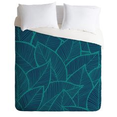 Arcturus Blue Green Leaves Duvet Cover | DENY Designs Home Accessories $249  couponcode: DENYheartsEDUCATION