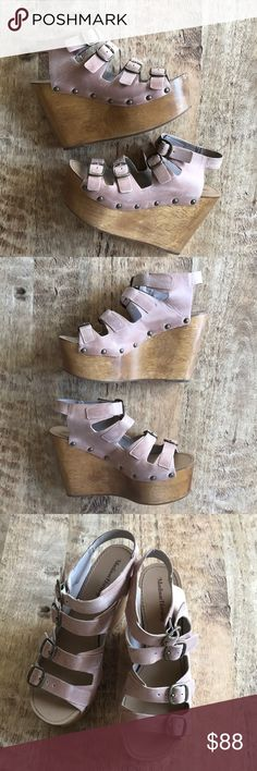 Madison Harding Vintage Wood Platform Wedge 9 Worn once--excellent condition!...vintage vibe wedge..perfect boho wedge in a beautiful blush nude leather! Madison Harding Shoes Wedges