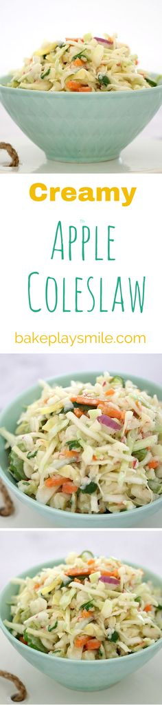 The BEST Apple Slaw with KFC-Style Creamy Dressing! Perfect for a summer BBQ or on a pulled pork burger!   Bake Play Smile