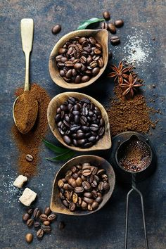 Coffee composition - Top view of three different varieties of coffee beans on dark vintage background - Food Styling - Stylisme culinaire - Estilismo de alimentos Coffee Cafe, Coffee Drinks, Coffee Shop, Cafe Barista, Coffee Menu, Coffee Company, Coffee Signs, Starbucks Coffee, Coffee Lovers