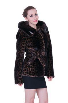 3db8208650 Leopard Print Mink Faux Fur Coat with Hood Brown