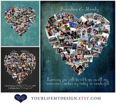 First Anniversary Gift, Photo Collage, Anniversary Gift for Husband, Anniversary Gift for Wife, One Year Wedding Anniversary.  You can use your wedding photos, engagements photos, vacation photos, Honeymoon photos, iPhone photos.  www.yourlifemydesign.etsy.com