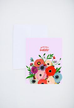 Birthday Greetings - Happy Birthday - Abstract Florals  - Painted & Hand Lettered Cards - A-2