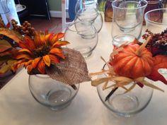 Adding corn inside vase for table settings