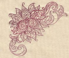 UrbanThreads.com: Machine and hand embroidery patterns....Delicate Bloom Corner design (UT5236)