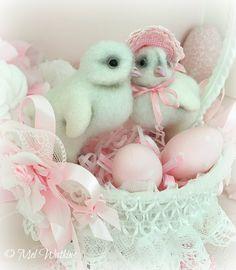 Shabby chic Pink Easter chicks easter basket