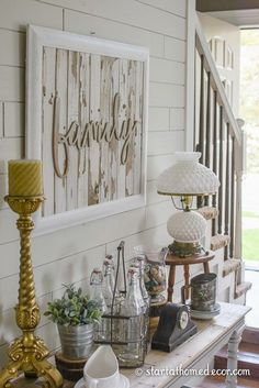 Neutral Reclaimed Wood Tone on Tone Sign by Start at Home Decor
