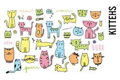 Cat Doodle Illustration Clipart by Pepper on Creative Market