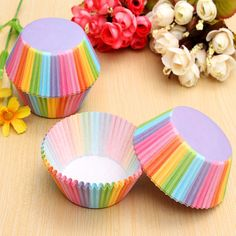 Description: Disposable #cake #baking mold,which eliminates the trouble of cleaning the mold, lovely and generous, very practical. To do a small cake, #muffin, also make the c... #100pcs #colorful #rainbow #paper #cupcake #cup #wedding