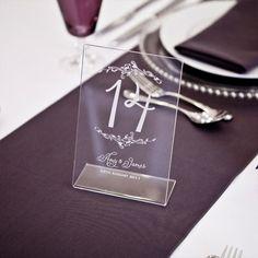 Personalised table number wedding laser engraved on clear perspex