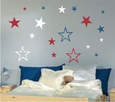 How about adding some colours to your kids room with this amazing Star wall decal set. http://www.splashwallart.com/Stars.html