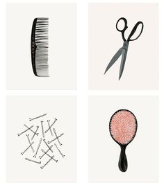 Rifle Paper Co.'s prints for the powder room feature bobby pins, a comb, scissors, and a hairbrush. They're cuter than I ever imagined those items could be.