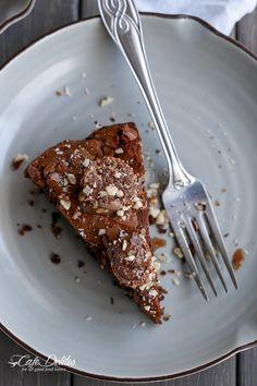 Ferrero Rocher Deep Dish Skillet Brownie Cookie | http://cafedelites.com