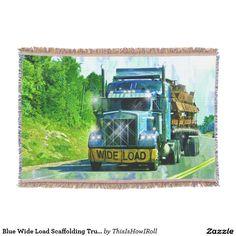 Blue Wide Load Scaffolding Truck-lovers' Art Throw