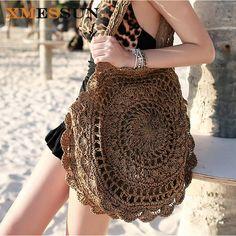 2019 Bohemian Straw Bags for Women Big Circle Beach Handbags Summer Vintage Rattan Bag Handmade Kintted Travel Bags clothes for women boho chic Mode Crochet, Crochet Shell Stitch, Crochet Style, Crochet Handbags, Crochet Purses, Crochet Bags, Crochet Dresses, Crochet Clothes, Straw Handbags