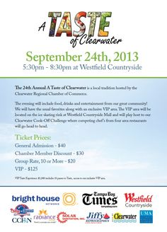 """Sample culinary delights from Clearwater restaurants and witness an """"Iron Chef"""" cook-off competition at the Taste of Clearwater Tuesday, Sept. 24 from 5:30 to 8:30 p.m. http://www.clearwaterflorida.org/events/eventdetail.aspx?EventID=1685"""