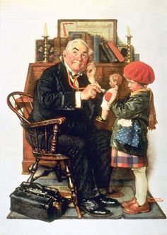 Reminds me of my mama and her love for all things Norman Rockwell!  :)   Doctor and Doll