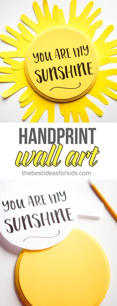 This You Are My Sunshine handprint sun craft is so cute! It will look great hanging on the wall in a kids room. Perfect kids room decor or fun handprint craft. Handprint Crafts | Sun crafts | Sunshine Crafts | You Are My Sunshine Crafts | Summer Crafts via @bestideaskids